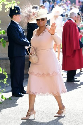 WINDSOR, UNITED KINGDOM - MAY 19: Oprah Winfrey arrives at St George's Chapel at Windsor Castle before the wedding of Prince Harry to Meghan Markle on May 19, 2018 in Windsor, England. (Photo by Ian West - WPA Pool/Getty Images)