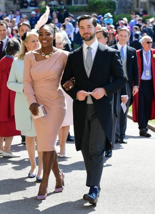 WINDSOR, UNITED KINGDOM - MAY 19: Serena Williams and her husband Alexis Ohanian arrive for the wedding ceremony of Britain's Prince Harry and US actress Meghan Markle at St George's Chapel, Windsor Castle on May 19, 2018 in Windsor, England. (Photo by Ian West - WPA Pool/Getty Images)